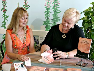 Cathy Marley at book signing for Peeking Over the Edge